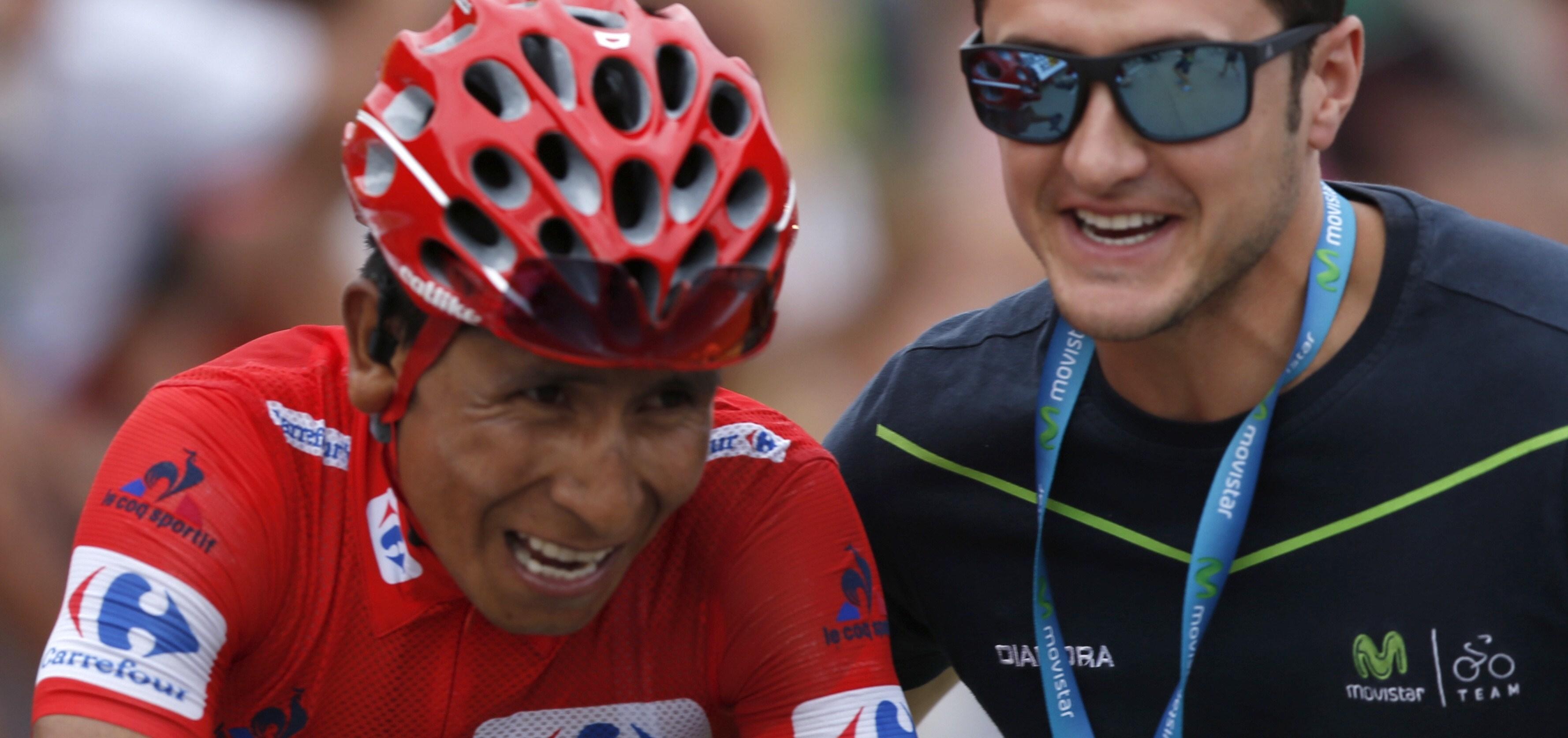 GRA217. FORMIGAL (HUESCA), 04/09/2016.- El ciclista colombiano del equipo Movistar, Nairo Quintana a su llegada a la meta de la decimoquinta etapa de la Vuelta Ciclista a España 2016, con salida en la localidad de Sabiñánigo y meta en Aramón Formigal,en Sallént de Gállego, con un recorrido de 118,5 kilómetros. EFE/Javier Lizon